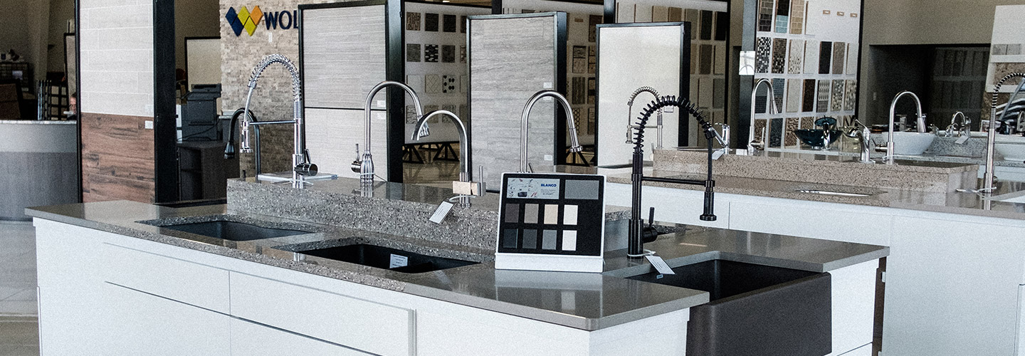 We have a large display of premium sinks and faucets